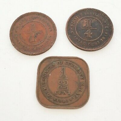 Lot of 3 Coins Straits Settlements 1/4 Cent 1899 1916 + Malaya 1/2 Cent 1940