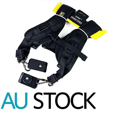 Double Dual Shoulder Belt Harness Holder Camera Adjustable Neck Strap DSLR SLR