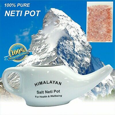 White Neti Pot With Himalayan Neti Salt Nasal spray Jala Yoga Sinus Health