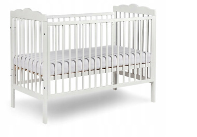 Wooden Cot Bed Baby Cot Bed Toddler Bed Safety Wooden Barrier 120x60 cm White