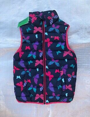 """Bnwt """"Mountain Warehouse"""" Navy With Butterfly Print Padded Gilet - 9/10 Years !"""