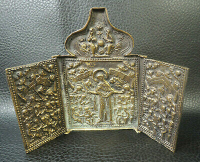 19c Antique Russian Orthodox Religious Travel Icon Triptych Deesis Christ Brass