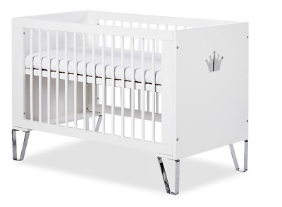 Wooden Cot Bed Baby Cot Bed Toddler Bed Barrier 120x60 cm White Chrome Princess