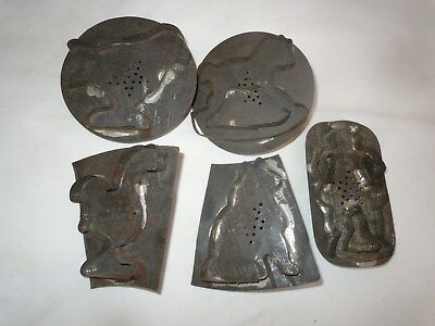 Vtg Antique 19c.Pennsylvania Folk Art Tin Cookie Cutters/Drummer/Song Bird/Goose