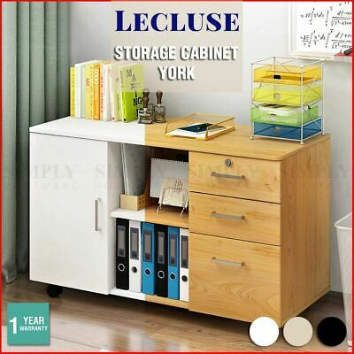 Lecluse Office Storage Cabinet Filing Cupboard Lockable Drawers Wooden Rolling