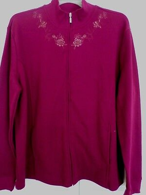 Womens  Embroidered Full Zip  Knit Jacket, 2x Plum, nwt (Price reduced 50%)