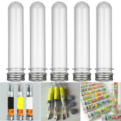 10X Clear Plastic Test Tube Vial With Screw Seal Caps Container Lab Test Supply