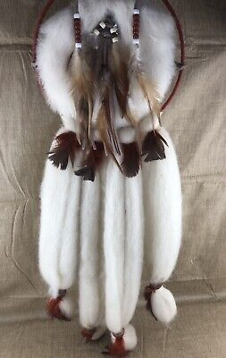 Vtg Native American Large Wall Hanging DREAM CATCHER Indian Feathers