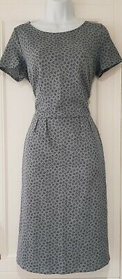 Womens Boden Light Blue Ditsy Stretch Cotton Tea Dress With Pockets 10R New.