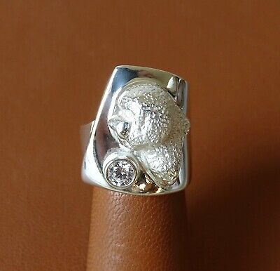 Sterling Silver Bichon Frise Head Study Ring / Band With CZ