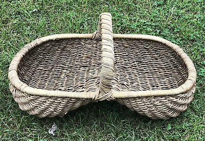 "Large VTG Primitive 25"" x 13"" Buttocks Basket Farm Estate Find"