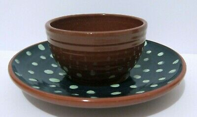 Art Pottery Demitasse Cup And Saucer - Artist Signed - Terra Cotta - Handpainted