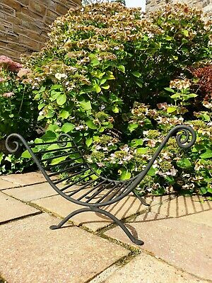 Vintage Antique Style Wrought Iron Log Holder Stand Basket Fireplace Fire Black