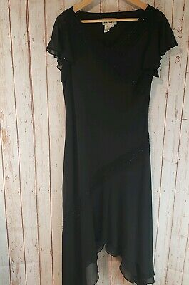 Adrianna Papell Womens Black Beaded Cocktail Formal Dress Size 12 Very Pretty