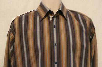Visconti shades of brown blue gray striped LS contrast collar cuffs shirt mens M
