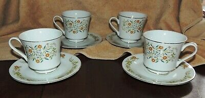 Set of 4 EMPRESS CHINA JAPAN #1030 VERNON Pattern Coffee Tea Cups and Saucers