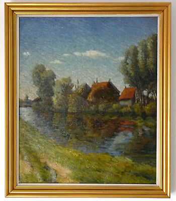 BEAUTIFUL Post-IMPRESSIONIST FRENCH, very close to Sisley Pissarro Summer River