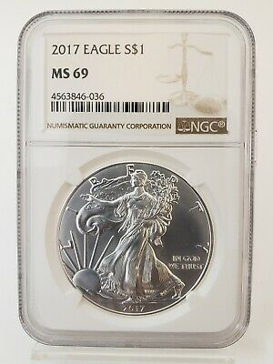 2017 1 oz Silver American Eagle $1 Coin NGC MS 69 *FREE SHIPPING* (35Z)