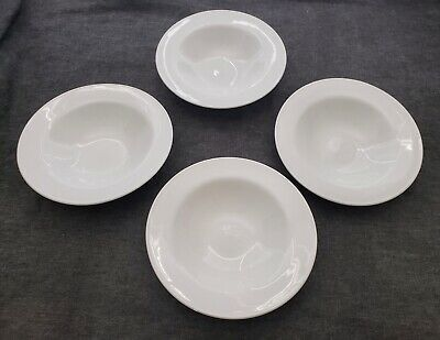 """Set 4 Pottery Barn Great White Traditional 9.5"""" Rim Soup Pasta Salad Bowls EXC"""