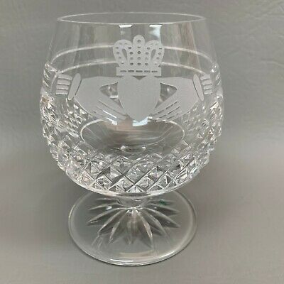 """Galway Claddagh Ring Etched Hands Brandy Clear Glass Irish Crystal 4 1/4"""" high"""