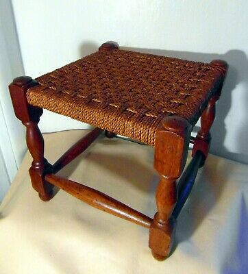 Antique Wood & Rattan Footstool - Lovely Toned Turned Wood - Good Condition.