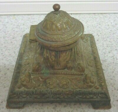 Antique English 19th Century Victorian Cast  Brass Desk Ink Well