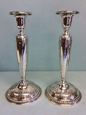 "Gorham Sterling Silver Holloware Candlesticks 'King Edward' 10"" H"