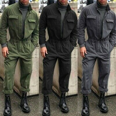 Mens Vintage Military Coveralls Casual Romper Slim Fit Workwear Jumpsuit Zsell