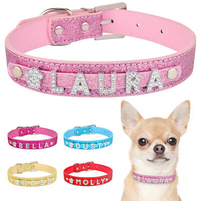 Leather Personalized Dog Collar Cat Adjustable Bling Diamond Letters DIY Name XS