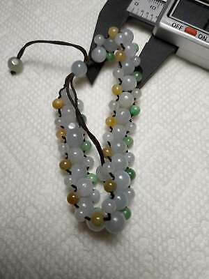100% Natural Burma Jadeite Jade adjustable woven bracelet A#2829