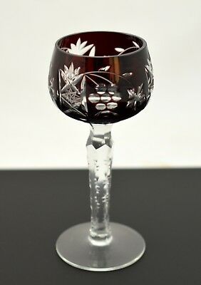 Vtg Czech Bohemian Cut To Clear Crystal Ruby Red Plum Goblet