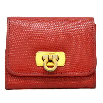 Authentic Salvatore Ferragamo Gancini Leather Coin Purse Case Compact Wallet Red