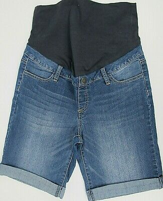Women's Size 12 Maternity Rolled Up Denim Shorts Blue Over Belly Band