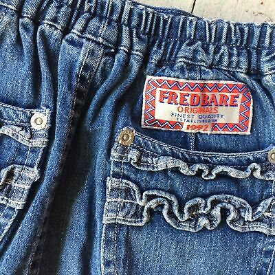 90's Vintage Fred Bare Girls Denim Frilled Skirt - Size 3