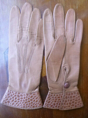 Vintage Reynier Tan kid leather gloves Size 6 3/4 Made in France Very Good Cond