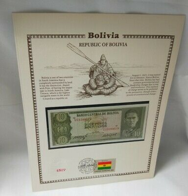 Bolivia banknote & stamp Historic Providence Mint First Day of Issue 1981 UN