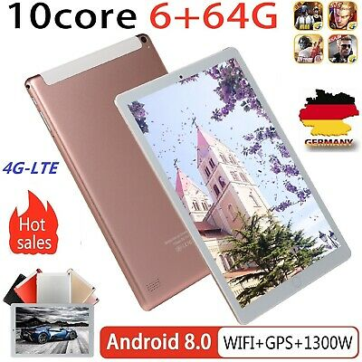 10,1 Zoll 4G-LTE Tablette Android 8.1 Bluetooth PC 6+64G Dual SIM mit GPS Tablet