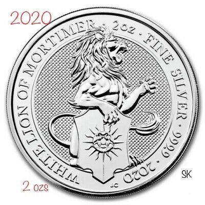 2020 Queen's Beasts The White Lion of Mortimer 2 oz Silver Coin