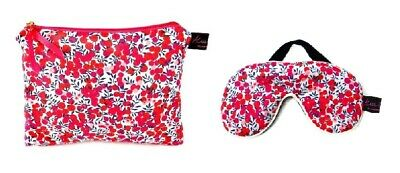 Luxurious Wiltshire Red Liberty Fabric Travel Pouch and Eye Mask