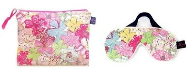 Luxurious Mauvey Pink Liberty Fabric Travel Pouch and Eye Mask
