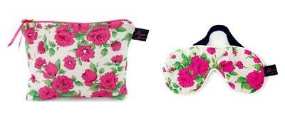 Luxurious Carline Pink Liberty Fabric Travel Pouch and Eye Mask