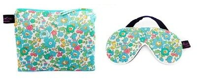 Luxurious Betsy Turquoise Liberty Fabric Travel Pouch and Eye Mask
