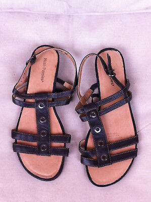Hush Puppies Charcoal Leather Strappy Flats Size: 40 Near New