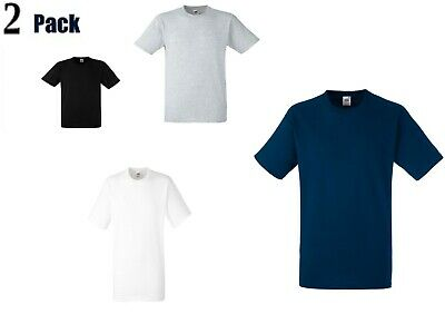 2 Pack Fruit of the Loom Mens Short Sleeve Tshirt Heavy Cotton Crew Neck Tee