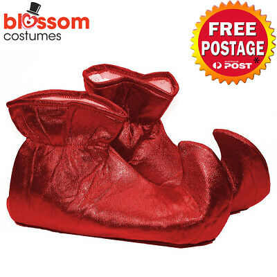 AC593 Red Elf Shoes Mens Ladies Christmas Costume Jester Boot Cover Xmas Pixie