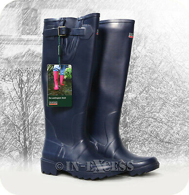 Town & Country Stylish Adjustable Deep Tread Tall Wellington Walking Boots Navy