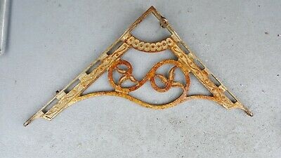Vintage Cast Iron WALL HANGING Planter Sign BRACKET Embossed Rusty Paint