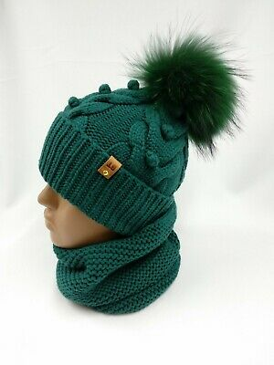 Hand knit Kids warm hat & scarf, merino wool fur pompon beanie & infinity snood