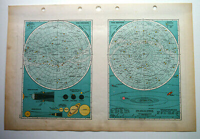 Map Of The Heavens Solar System Planets C1939 Antique Large