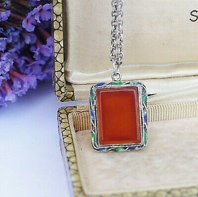 Small Vintage Chinese Sterling Silver Filigree & Enamel Carnelian Stone Necklace